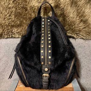 Elle Jae Gypset Black Faux Fur & Studs Backpack